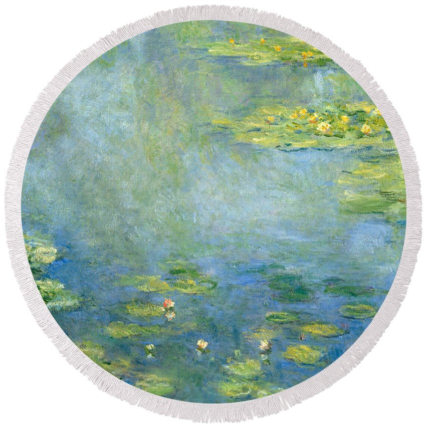 Claude Monet Round Beach Towel featuring the painting Waterlilies by Claude Monet