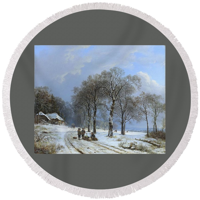 Koekkoek Barend Cornelis - Winter Landscape Round Beach Towel featuring the painting Winter Landscape by MotionAge Designs