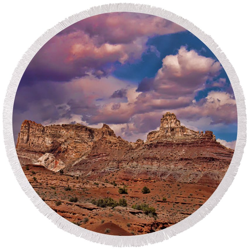 San Rafael Swell Round Beach Towel featuring the photograph San Rafael Swell by Mark Smith