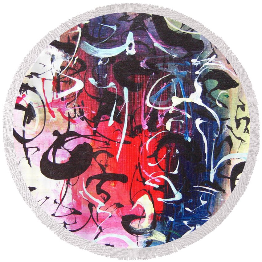 Abstract Landscape Painting Round Beach Towel featuring the painting Abstract Calligraphy by Seon-jeong Kim
