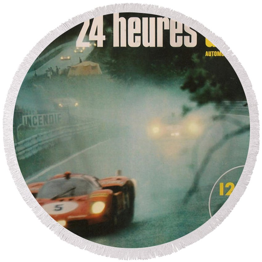 24 Hours Of Le Mans Round Beach Towel featuring the digital art 24 Hours Of Le Mans - 1971 by Georgia Fowler