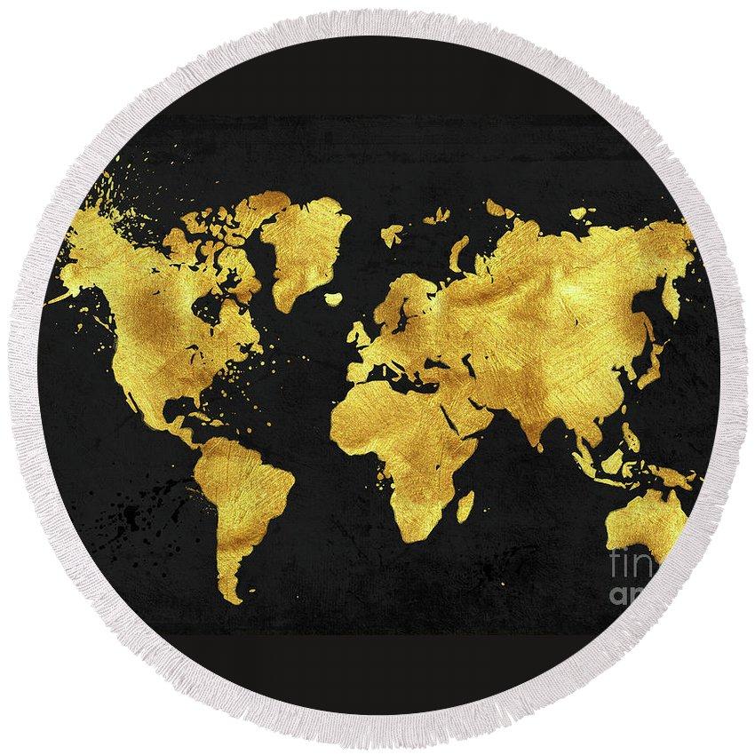 24 Karat World In Black Gold Metal World Map Round Beach Towel For