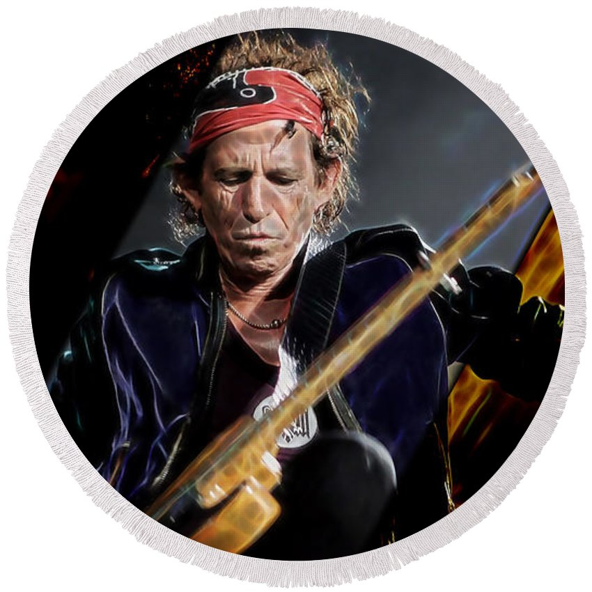 Keith Richards Round Beach Towel featuring the mixed media Keith Richards Collection by Marvin Blaine