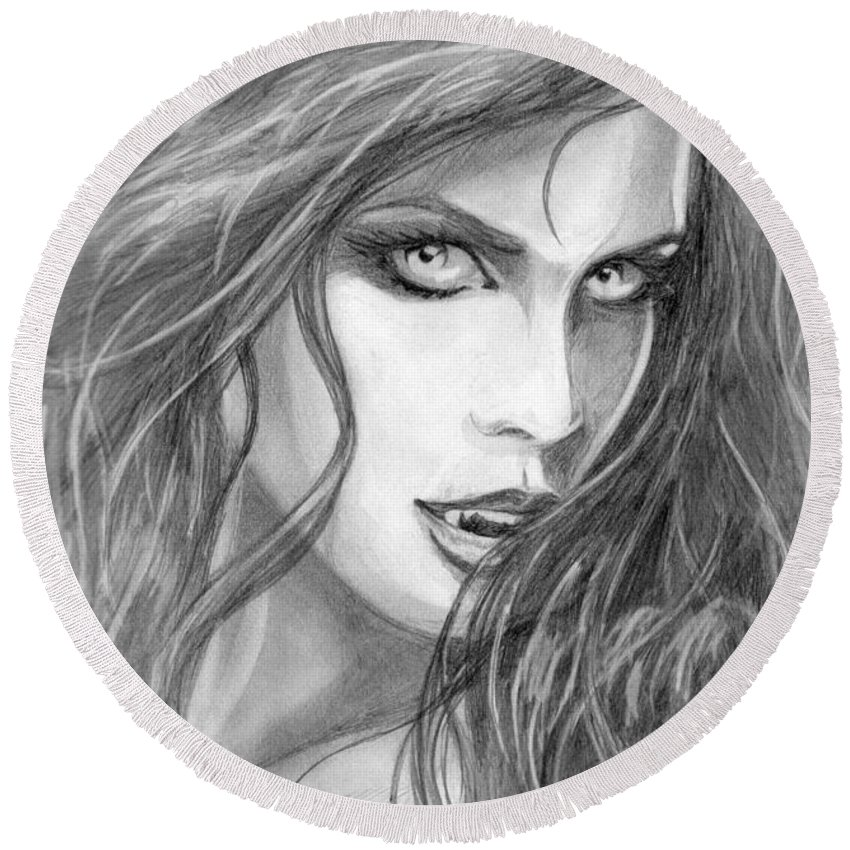 #vampiress Round Beach Towel featuring the drawing Turned by Kristopher VonKaufman