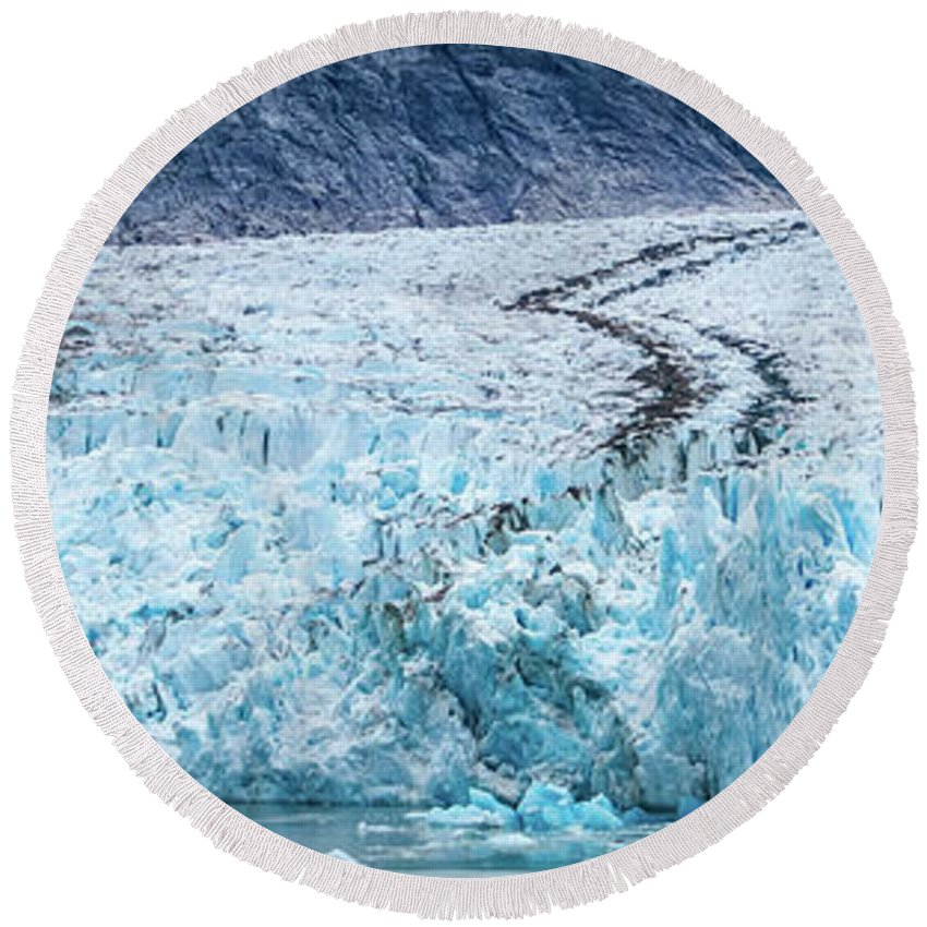 Arm Round Beach Towel featuring the photograph Sawyer Glacier At Tracy Arm Fjord In Alaska Panhandle by Alex Grichenko
