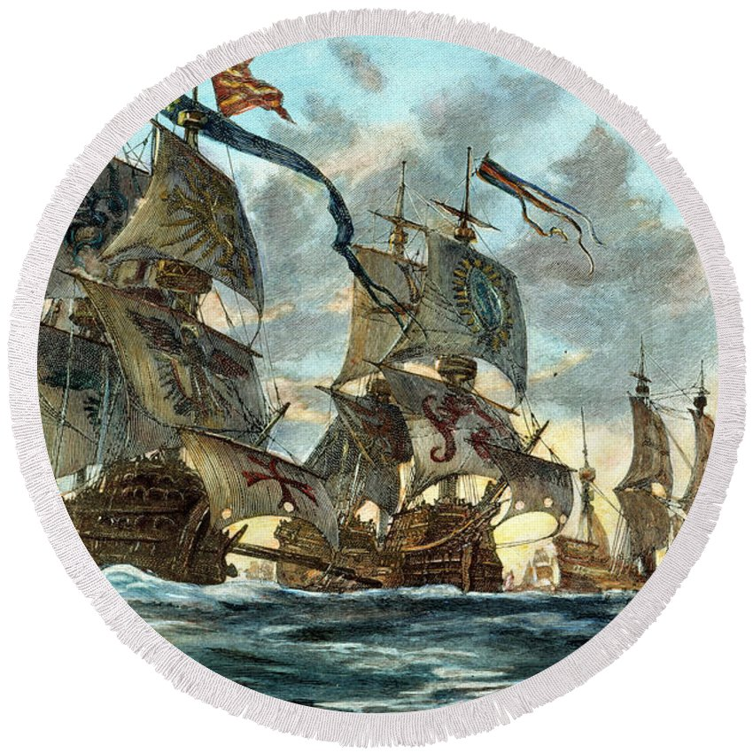 1588 Round Beach Towel featuring the photograph Spanish Armada (1588) by Granger