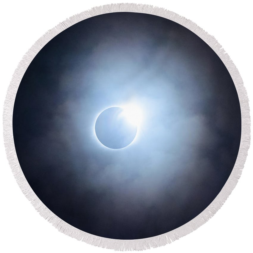 Eclipse Round Beach Towel featuring the photograph #25 August 2017 Solar Eclipse by John Diebolt