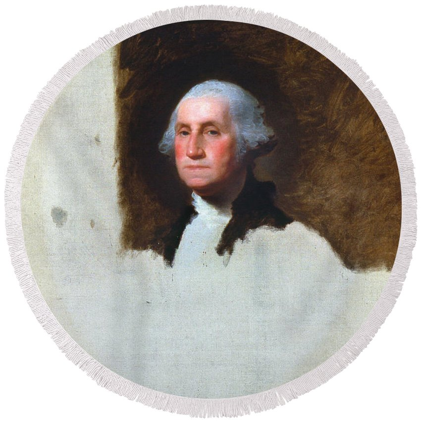 1796 Round Beach Towel featuring the photograph George Washington by Granger