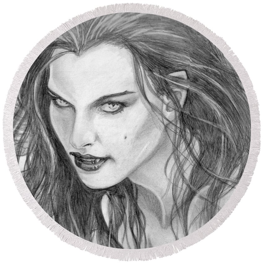 Vampiress Round Beach Towel featuring the drawing 25 by Kristopher VonKaufman