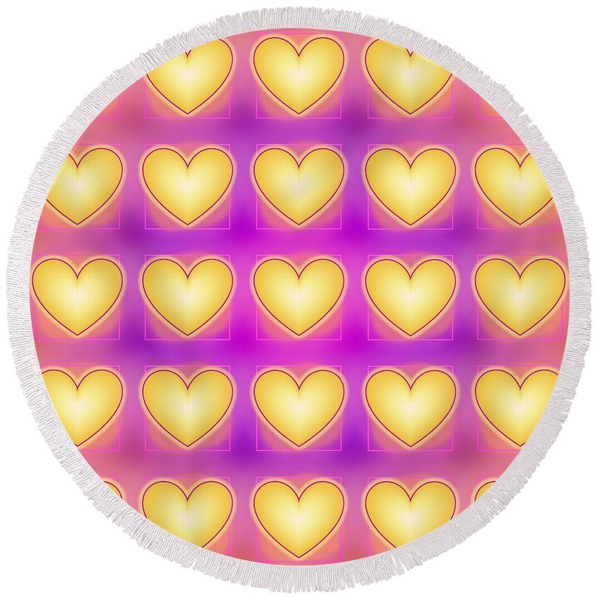 Yellow Love Hearts Round Beach Towel featuring the digital art 25 Little Yellow Love Hearts by Geraldine Cote