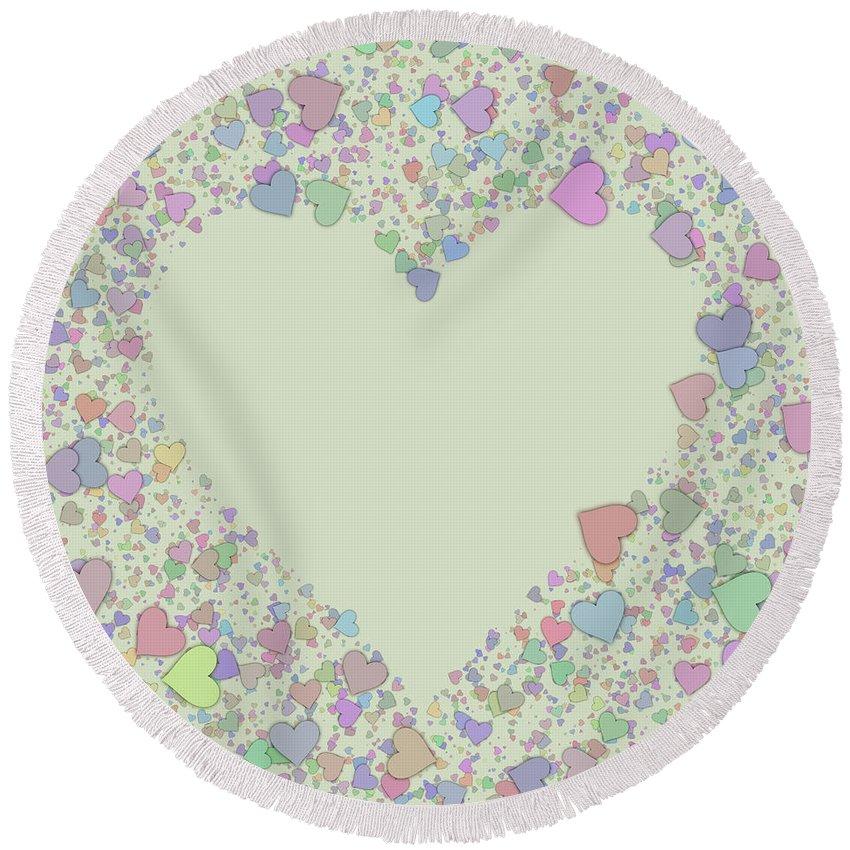 Heart Round Beach Towel featuring the digital art Love Heart Valentine Shape by Miroslav Nemecek