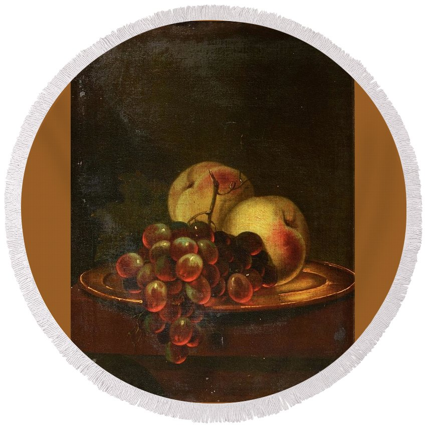 17th Century Dutch School Still Life - A Brass Platter Of Peaches And Bunch Of Grapes Round Beach Towel featuring the painting Still Life by MotionAge Designs