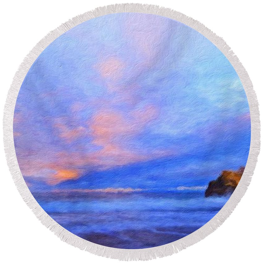 Landscape Round Beach Towel featuring the painting Nature Art Landscape by World Map