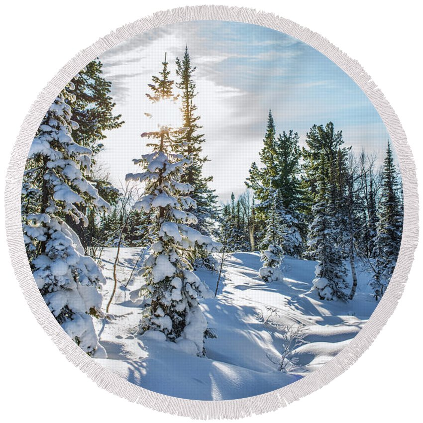 Amazing Round Beach Towel featuring the photograph Amazing Landscape With Frozen Snow-covered Trees In Winter Morning by Oleg Yermolov