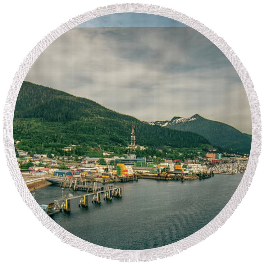 City Round Beach Towel featuring the photograph Scenery Around Alaskan Town Of Ketchikan by Alex Grichenko