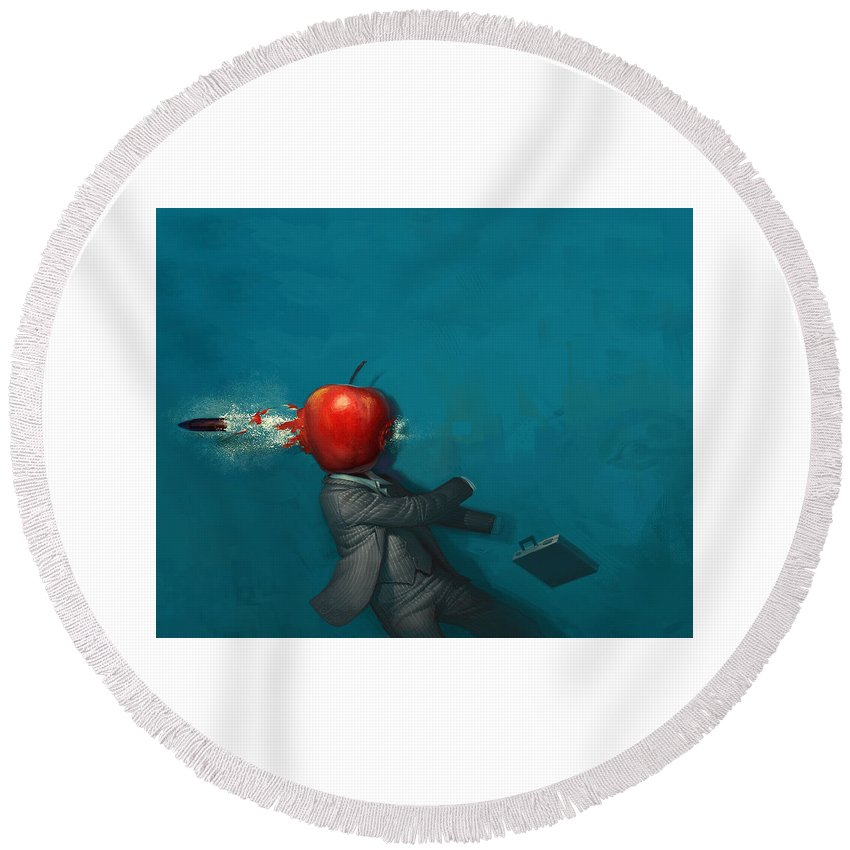 Other Round Beach Towel featuring the digital art Other by Mery Moon