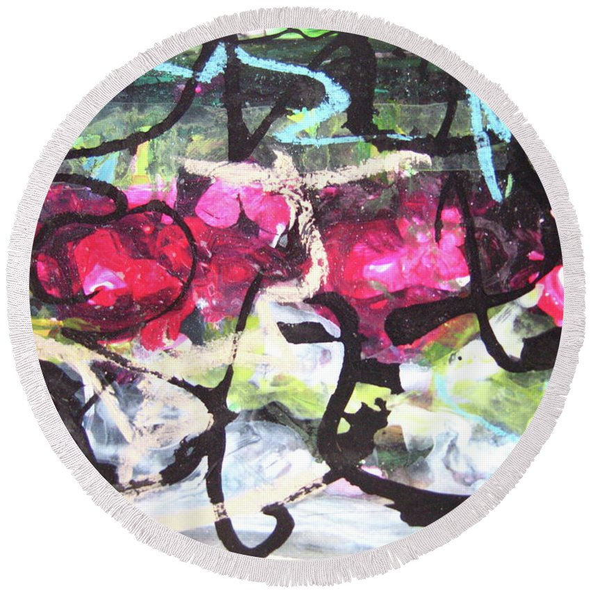 Abstract Landscape Painting Round Beach Towel featuring the painting Abstract Landscape Painting by Seon-jeong Kim