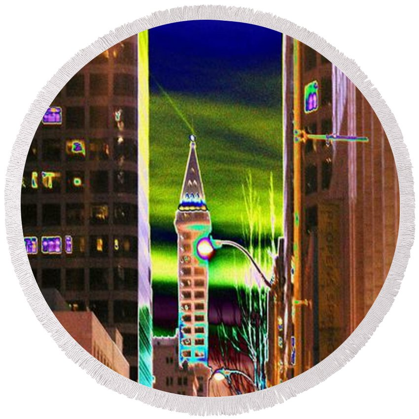 Seattle Round Beach Towel featuring the photograph 2nd Avenue Sunrise by Tim Allen