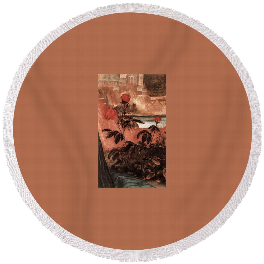 Tattoo Round Beach Towel featuring the digital art 2view1c9 Matthias Grunewald by Eloisa Mannion