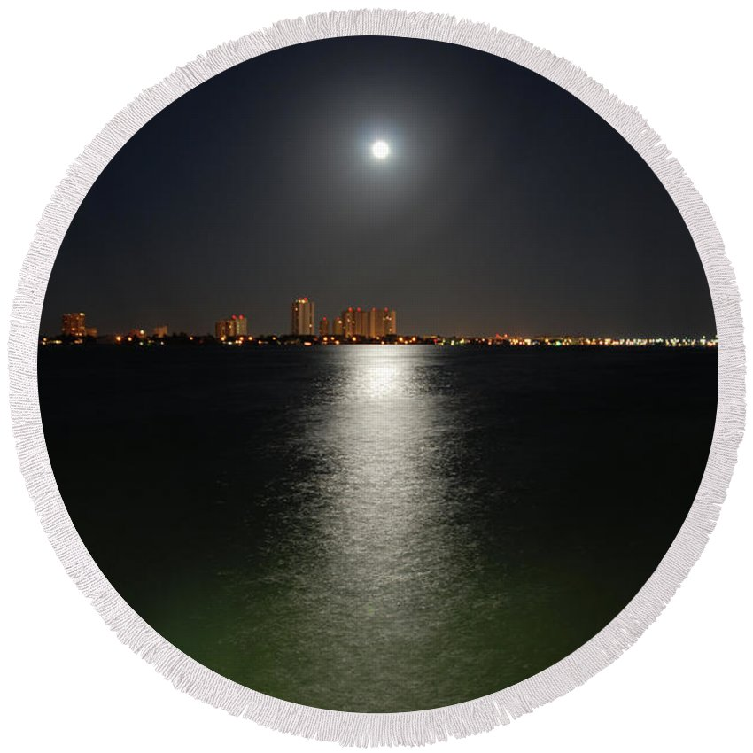 Moon Round Beach Towel featuring the photograph 3- Reflections by Joseph Keane
