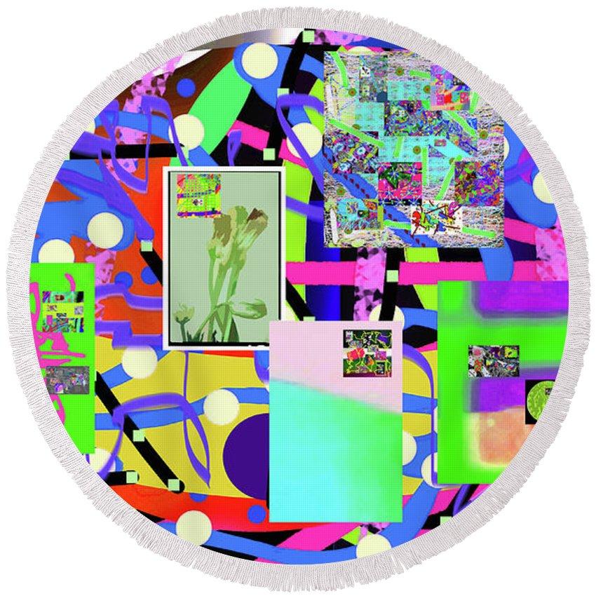 Walter Paul Bebirian Round Beach Towel featuring the digital art 3-3-2016abcdefghijklmnopqrtu by Walter Paul Bebirian