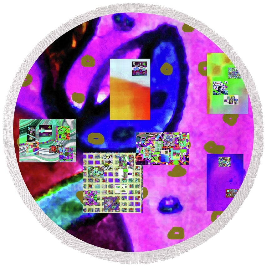 Walter Paul Bebirian Round Beach Towel featuring the digital art 3-3-2016b by Walter Paul Bebirian