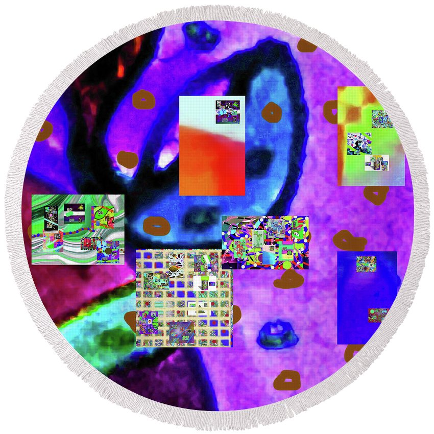 Walter Paul Bebirian Round Beach Towel featuring the digital art 3-3-2016bab by Walter Paul Bebirian