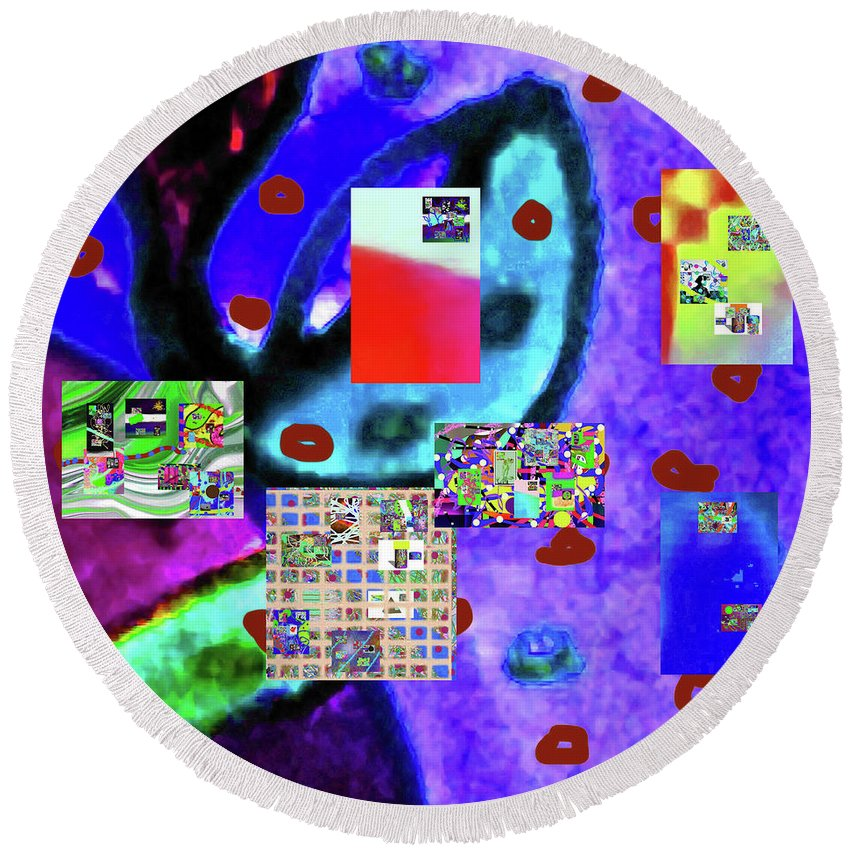 Walter Paul Bebirian Round Beach Towel featuring the digital art 3-3-2016babcd by Walter Paul Bebirian