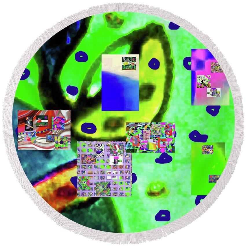 Walter Paul Bebirian Round Beach Towel featuring the digital art 3-3-2016babcdefghijklmnop by Walter Paul Bebirian
