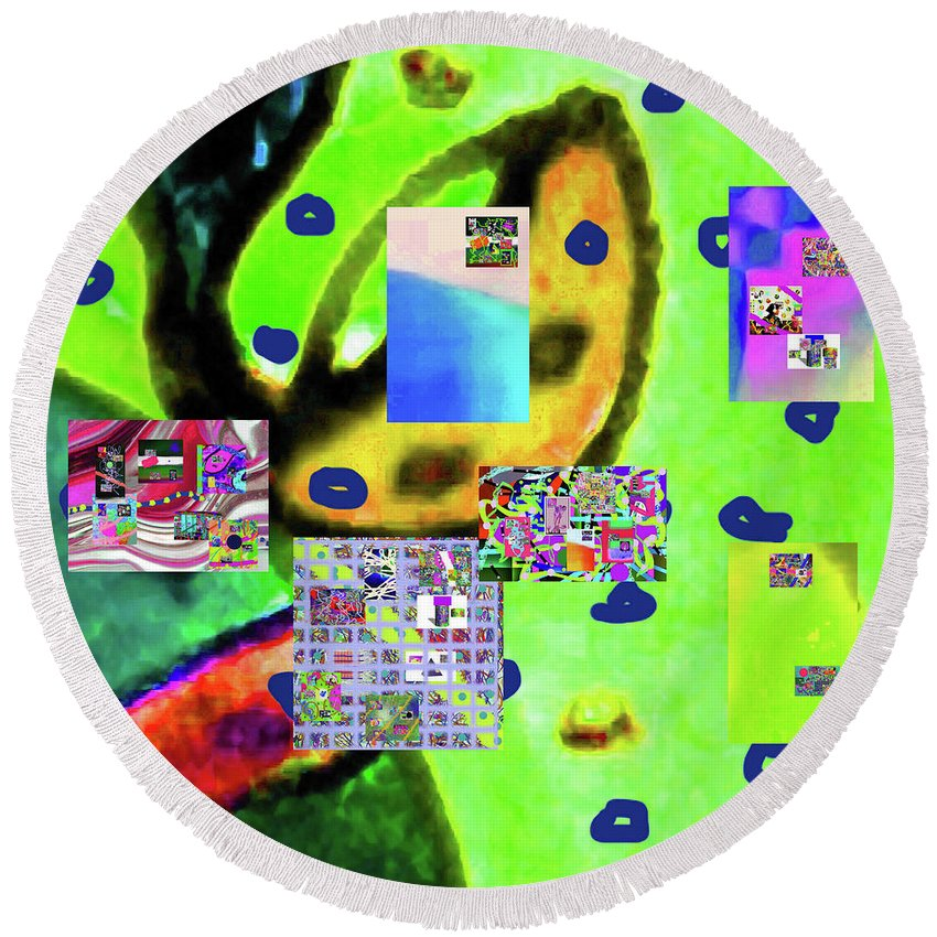 Walter Paul Bebirian Round Beach Towel featuring the digital art 3-3-2016babcdefghijklmnopqrt by Walter Paul Bebirian