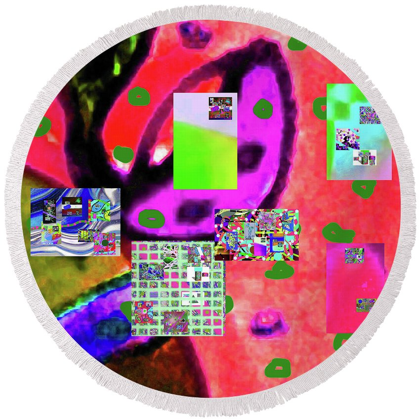 Walter Paul Bebirian Round Beach Towel featuring the digital art 3-3-2016babcdefghijklmnopqrtuvwxyzabcde by Walter Paul Bebirian