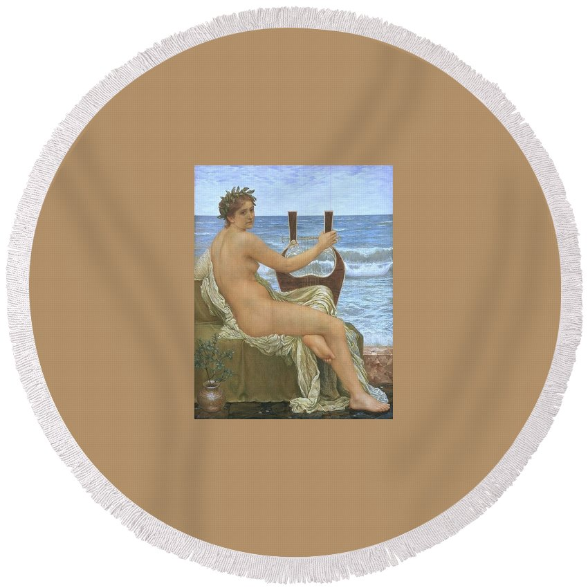 Maillot Round Beach Towel featuring the digital art 31065 Henry Holiday by Eloisa Mannion