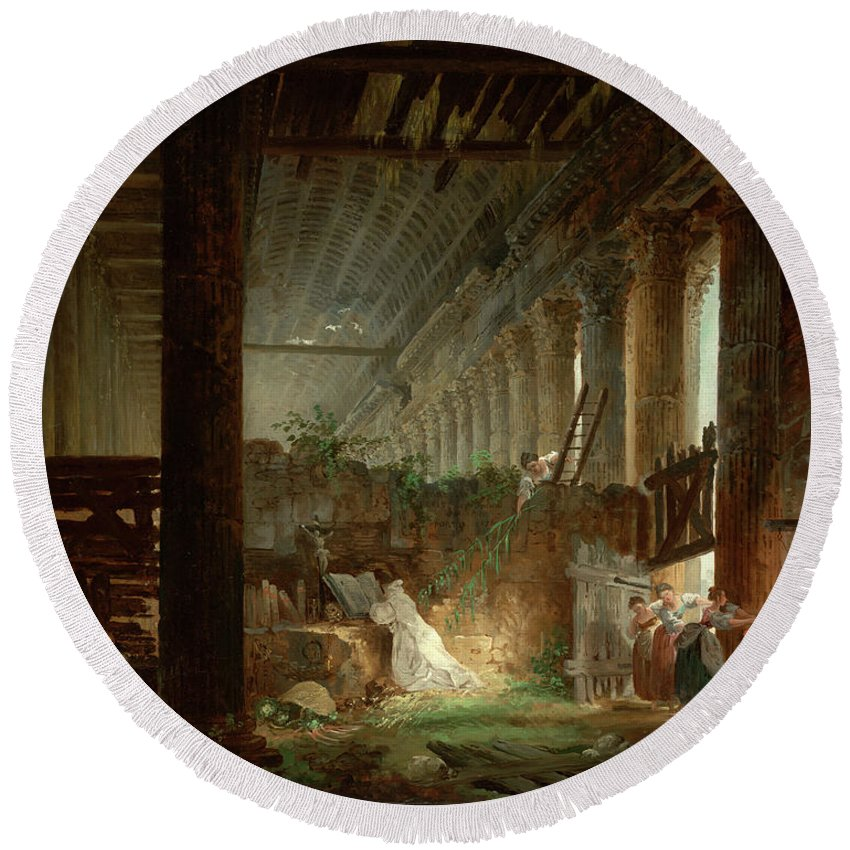 Hubert Robert (french Round Beach Towel featuring the painting A Hermit Praying In The Ruins Of A Roman Temple by Hubert Robert