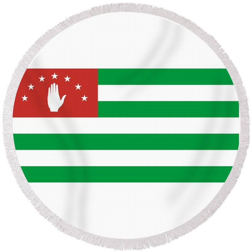 Flag Round Beach Towel featuring the digital art Abkhazia Flag by Frederick Holiday