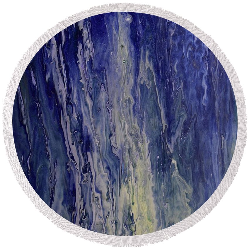 Liquid Round Beach Towel featuring the painting Acid Rain by Brion McMaster