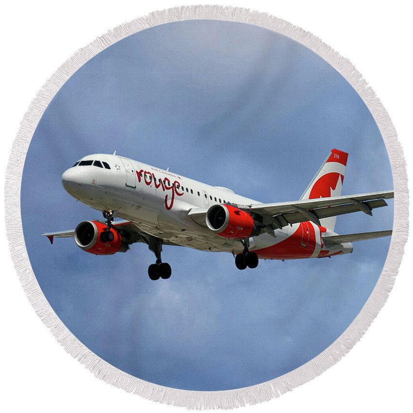 Air Canada Round Beach Towel featuring the photograph Air Canada Rouge Airbus A319 by Smart Aviation