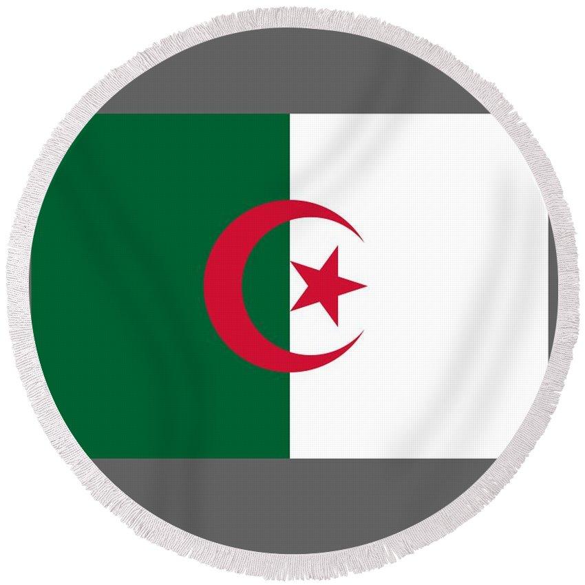 Flag Round Beach Towel featuring the digital art Algeria Flag by Frederick Holiday