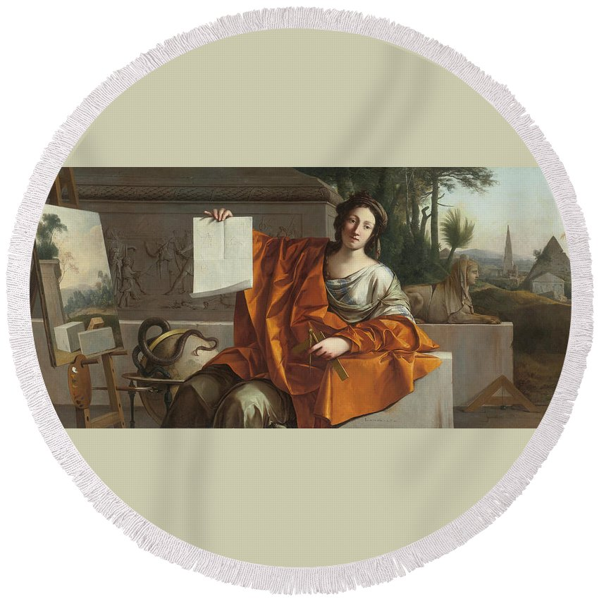 Laurent De La Hyre (french Round Beach Towel featuring the painting Allegory Of Geometry by MotionAge Designs