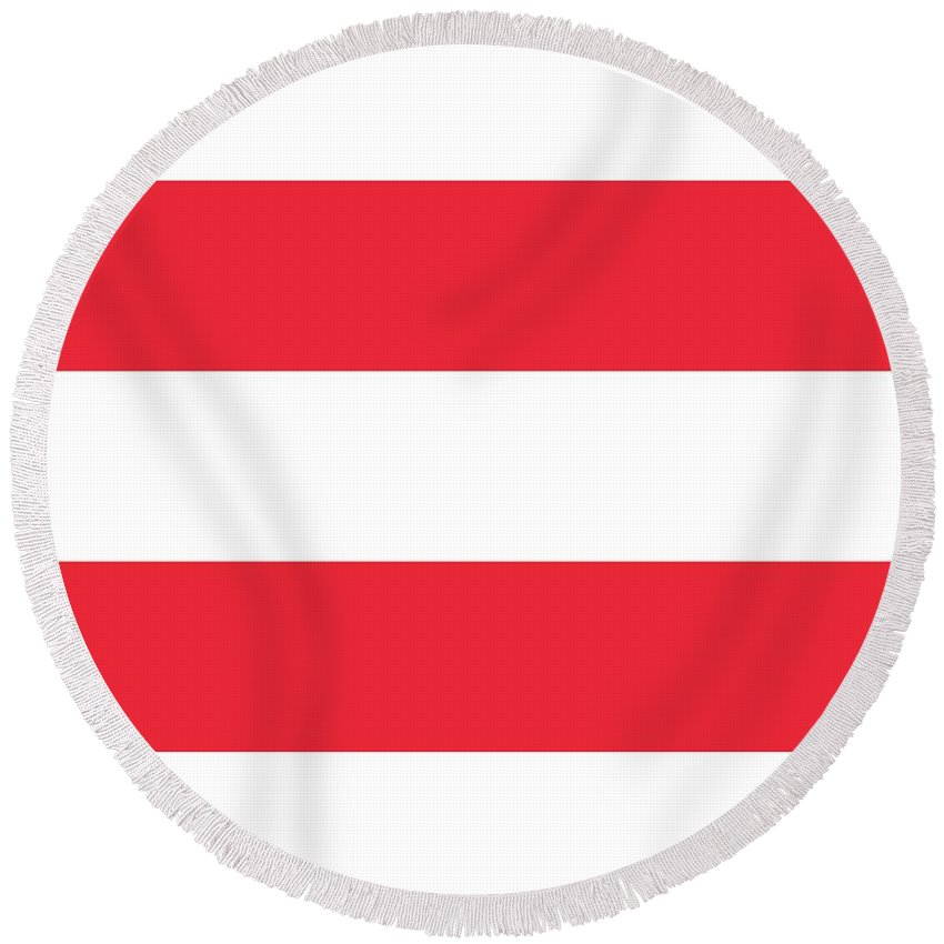 Banner Round Beach Towel featuring the digital art Austria Flag by Frederick Holiday
