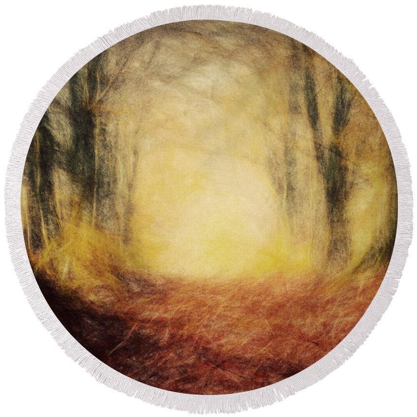 Paint Round Beach Towel featuring the photograph Autumn Forest by Michal Bednarek