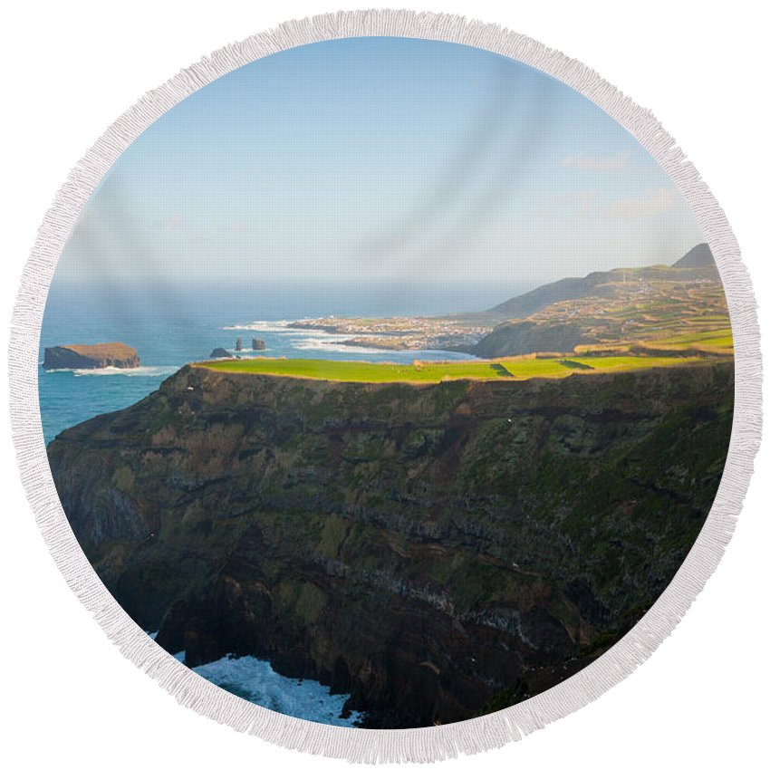 Azores Round Beach Towel featuring the photograph Azores Coastal Landscape by Gaspar Avila