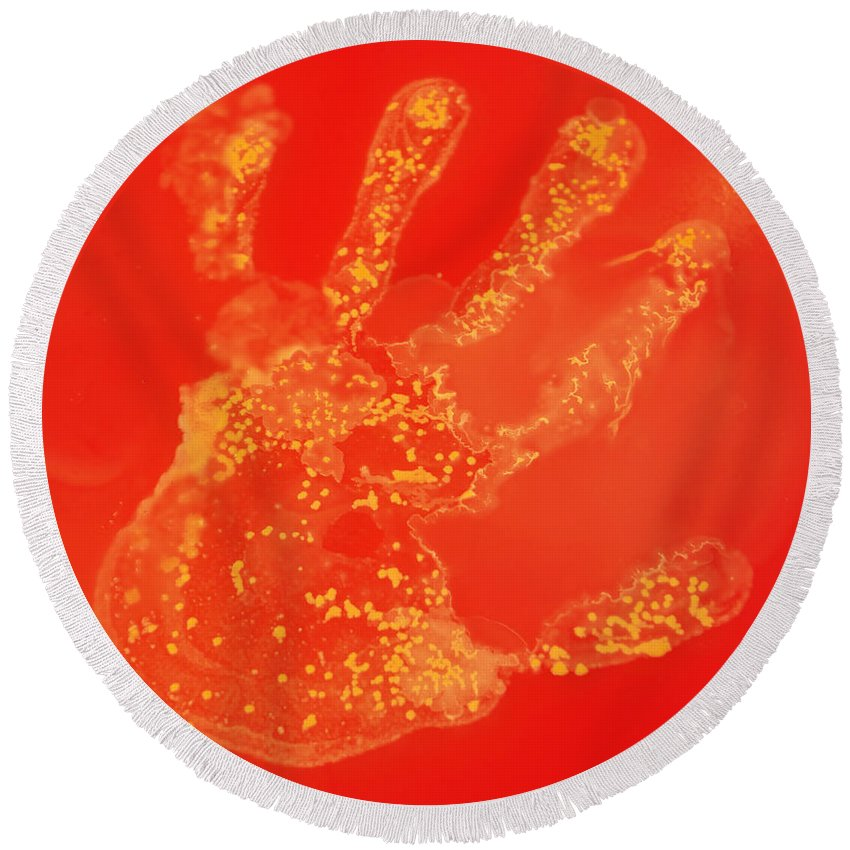 Bacteria Round Beach Towel featuring the photograph Bacteria Transferred From Hand by Scimat