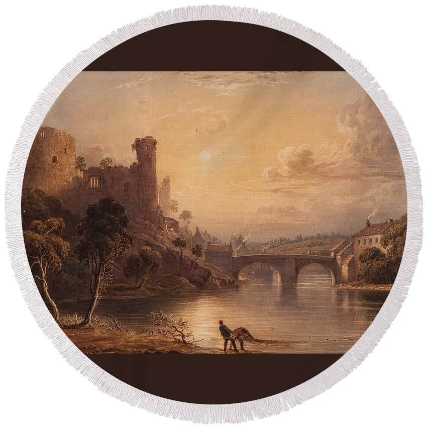 F. Snell (19th Century) Barnard Castle Round Beach Towel featuring the painting Barnard Castle by MotionAge Designs