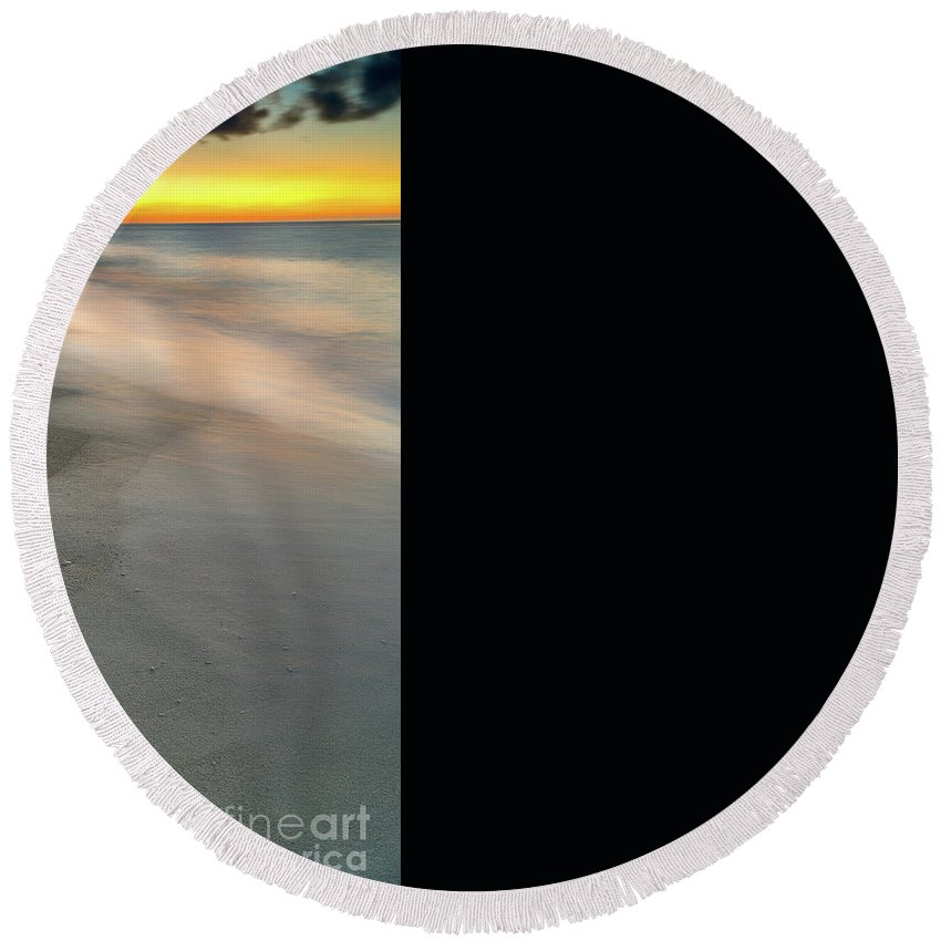 Sun Round Beach Towel featuring the photograph Beach Sunset by Adrian Evans