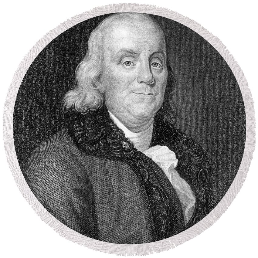 18th Century Round Beach Towel featuring the photograph Benjamin Franklin (1706-1790) by Granger