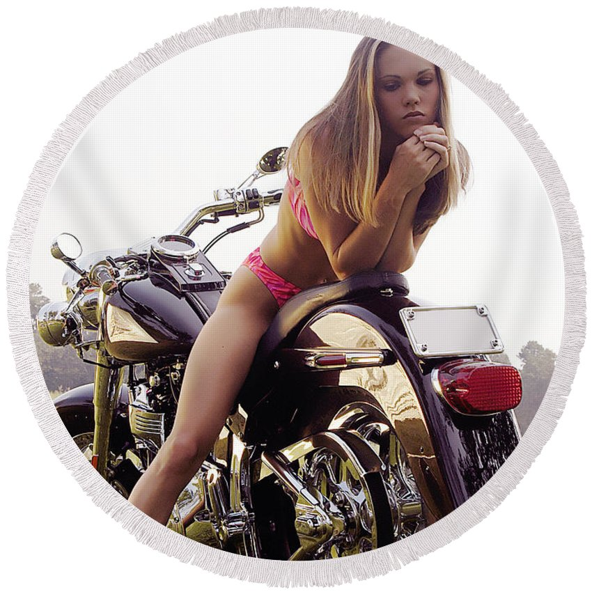 Round Beach Towel featuring the photograph Bikes And Babes by Clayton Bruster