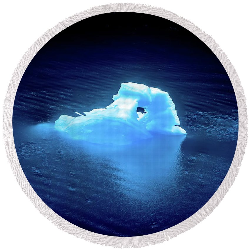 Blue Round Beach Towel featuring the photograph Blue Icebergs And Ice Chunks In Water Nearby Alaska by Alex Grichenko