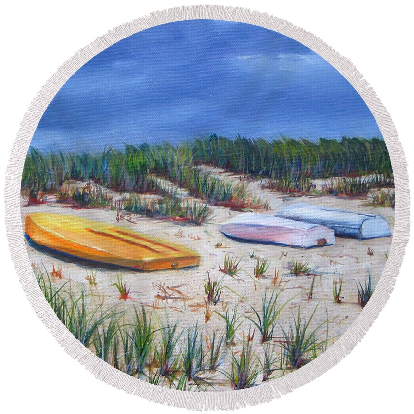 Cape Cod Round Beach Towel featuring the painting 3 Boats by Paul Walsh