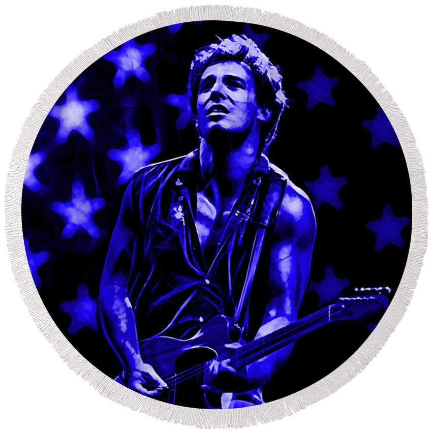 Bruce Springsteen Art Round Beach Towel featuring the mixed media Bruce Springsteen by Marvin Blaine