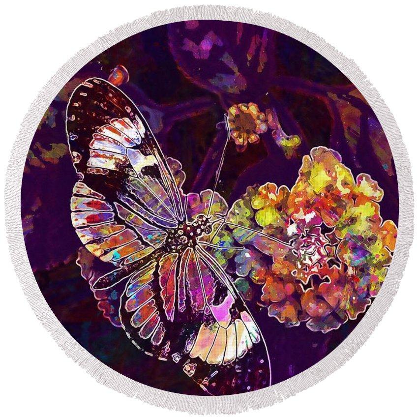 Butterfly Round Beach Towel featuring the digital art Butterfly Macro Pose Plant Green by PixBreak Art